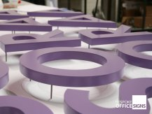 purple 3d metal letters