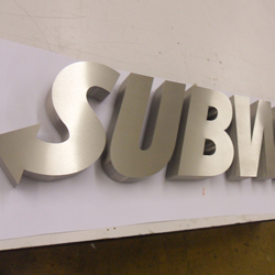 3d brushed stainless steel office logo