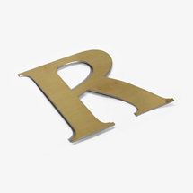 Brushed gold office sign letters
