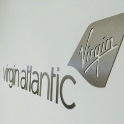 Brushed steel office logo